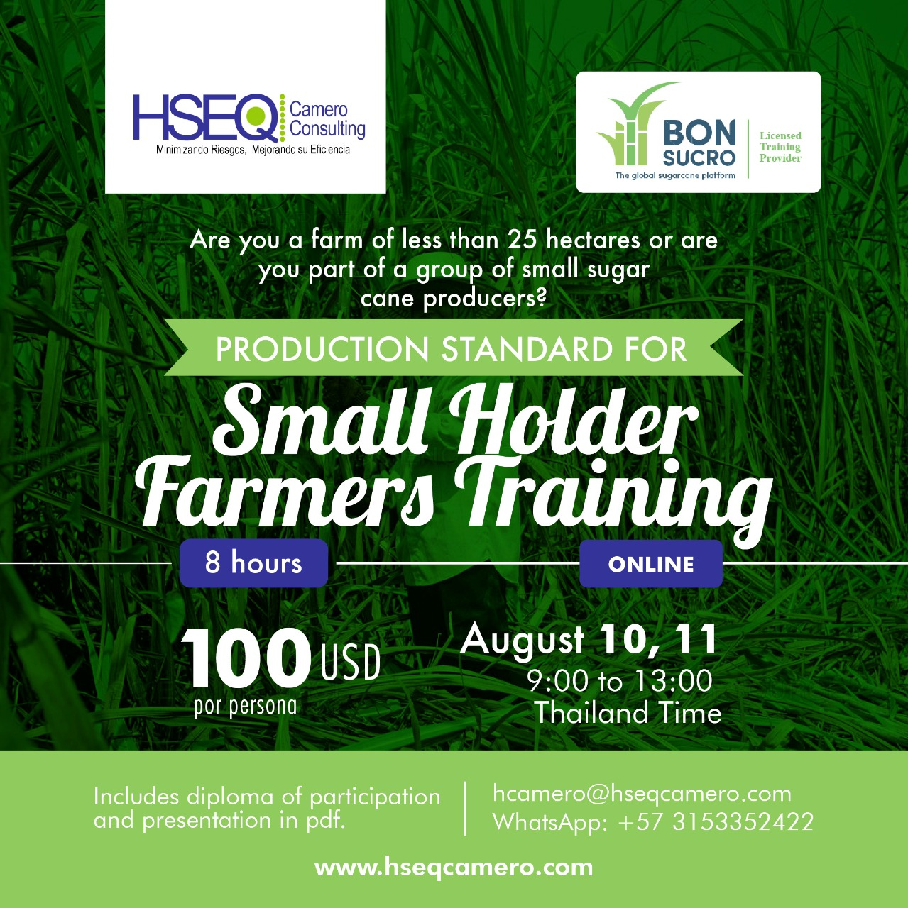 Production standar for small holder farmers training – August 10, 11
